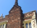 Castellated, barley twist chimney stack on the Tudor house.
